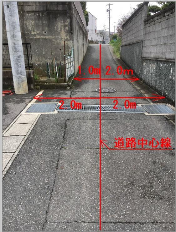 道路中心線から2メートルずつ控えれば、道幅は4メートルになる