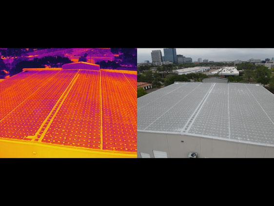 Mavic 2 Enterprise Advanced con cámara térmica 640 x 512 puedes obtener imágenes térmicas para inspecciones de paneles solares