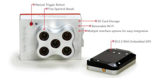 Rededge MX es la mejor cámara multiespectral de 5 bandas con sensor de luz y GPS integrado