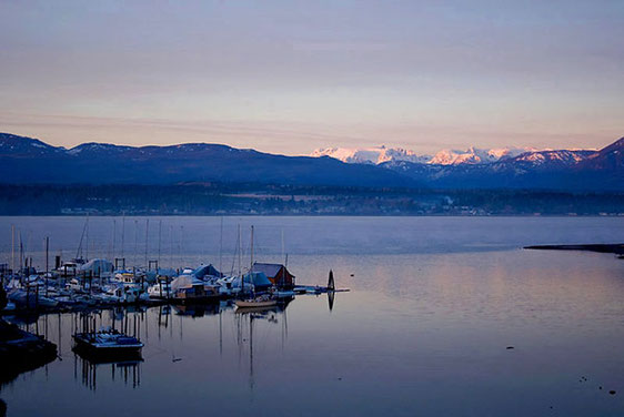 Looking over Comox marina, across the bay with the glacier in the background.