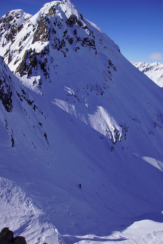 Der steile Ausstieg aus dem Stollental
