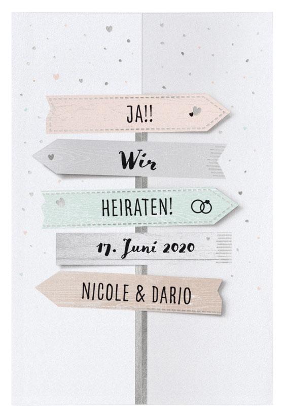 Einladungskarten und Hochzeitskarten gestaltet und druckt Satzdruck im Münsterland