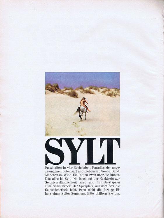 """Aufmacher eines Sylt-Artikels der Zeitschrift """"twen"""", 1968. Autor der Aufnahmen unbekannt"""