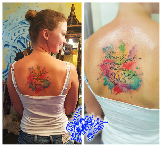 watercolor text tattoo Blue Magic Pins tattoo Genk  Belgium aquarelle colorful pastel  never regret something that once made you smile back feminine