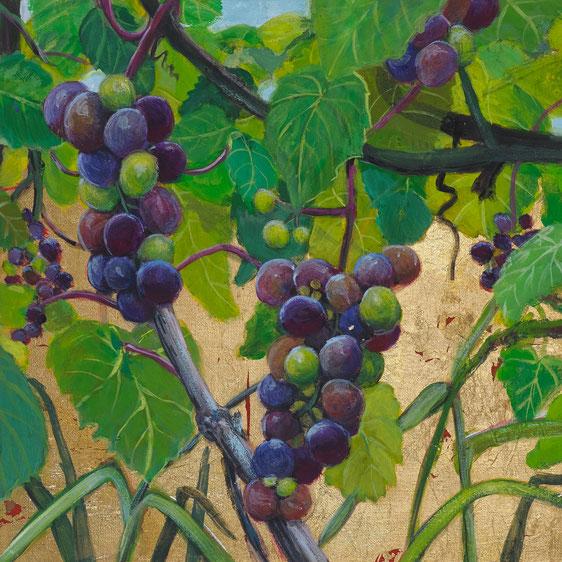 gemälde, malerei, tanja gott, garden, holy, gold, gold painting, grapes, trauben, garten, pflanzen