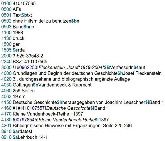 Screenshot einer untergeordneten Aufnahme für einen Teil mit unabhängigem Titel in der RDA-Testdatenbank des SWB