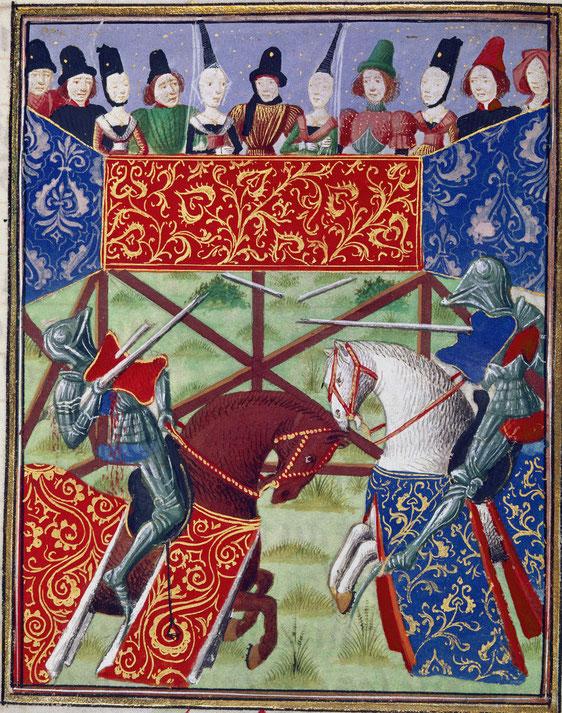 Tjost. Lanzenstechen französische Ritter im Turnier