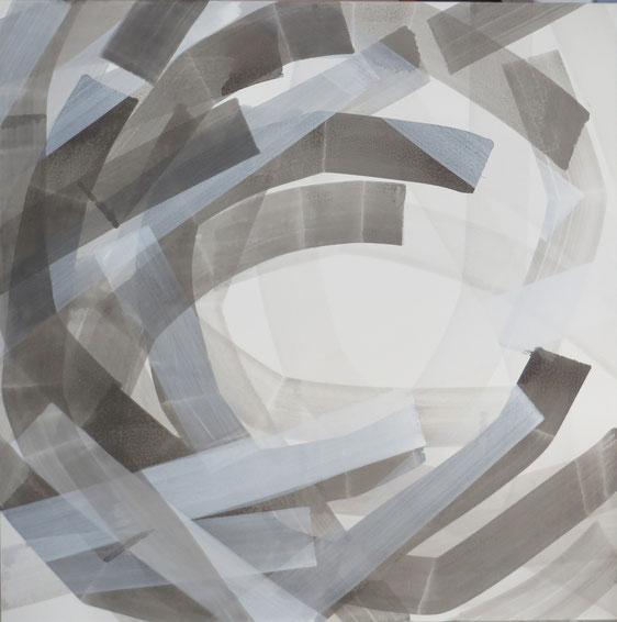 strokes 11,  Tusche mit Kreidegrund auf Leinwand, 150/150cm