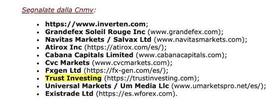 trust investing consob avviso