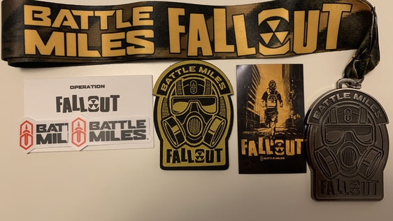 """Finisher-Items der November-Challenger """"Fallout"""" (Patch, Magnet und Medaille)"""
