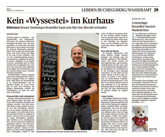 Wyssestei Bier solothurner Zeitung medien bericht