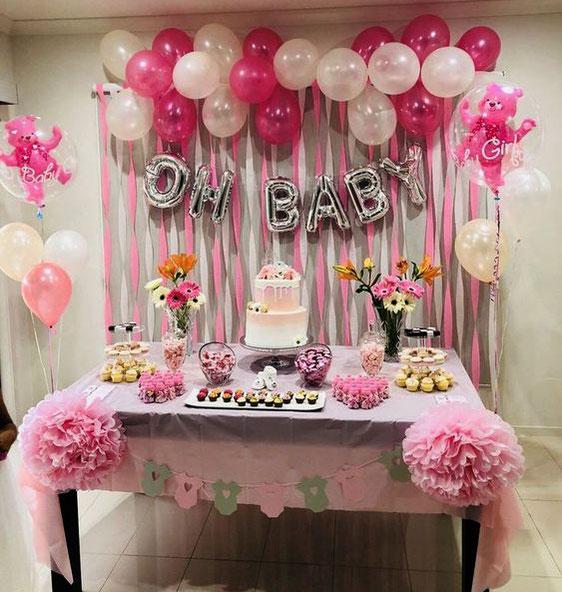 mesa de dulces baby shower de niña