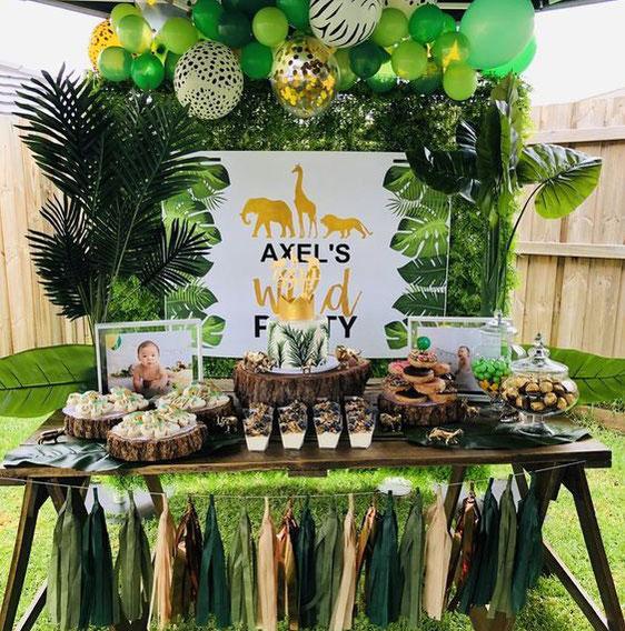 mesa de dulces fiesta safari