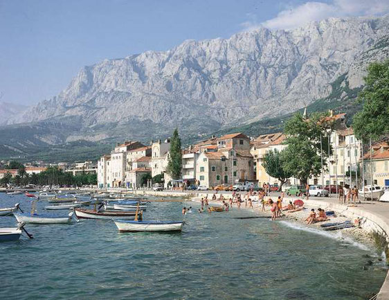 The Dinaric Alps rising from the Dalmatian coast at Makarska, a resort town south of Split, Croatia