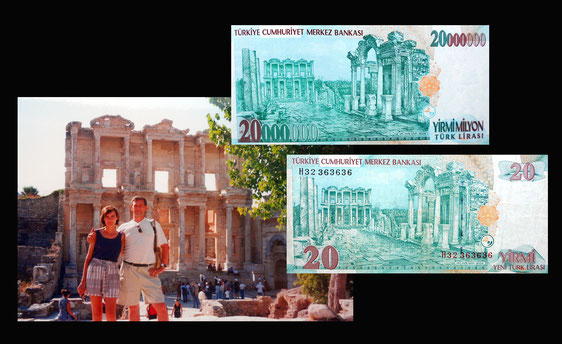 Efeso -Turquía en las 20 liras y 2.000.000 liras