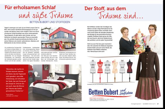 Artikel BettenBubbert & Stoffideen in der Lebensart Dezember 2016