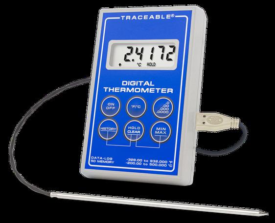 Termómetro digital con sonda de acero inoxidable con sensor RTD de platino y certificado trazable a NIST 6413