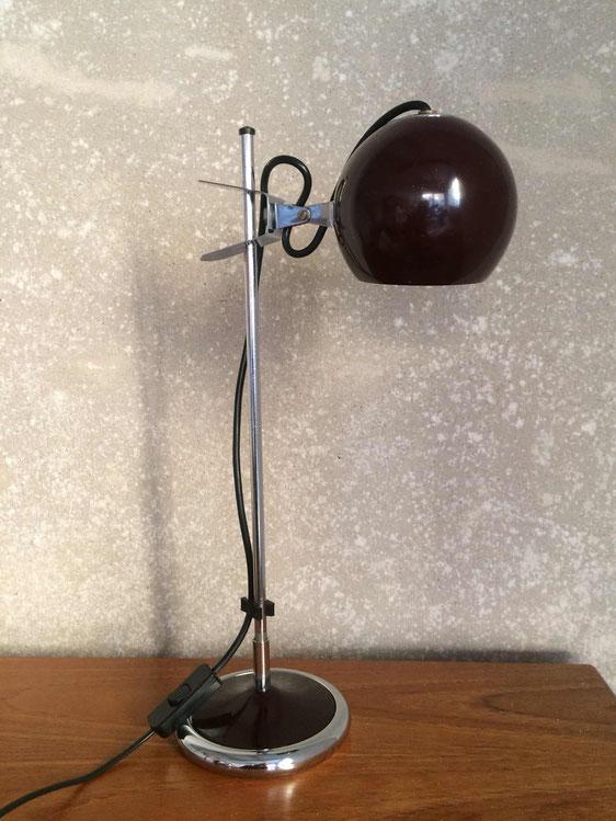 lampe eyeball, targetti-sankay, lampe 70's, lampe chrome
