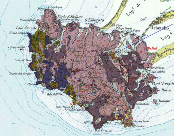 Carta geologica del promontorio (fonte: ISPRA)