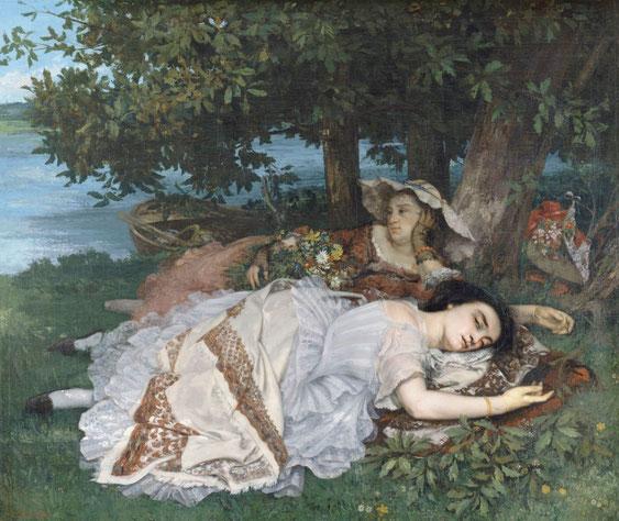 《セーヌ川岸の若い女性》1856年