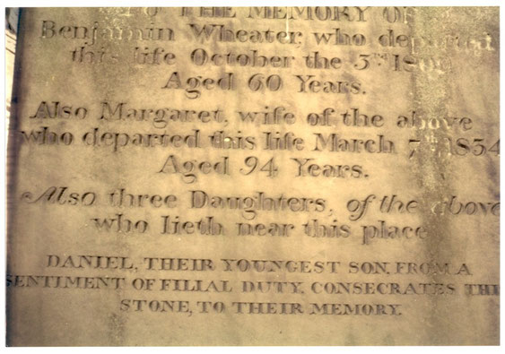 Tombstone of Benjamin Wheater in the church yard at Monk Fryston West Yorkshire England the beginning of group A