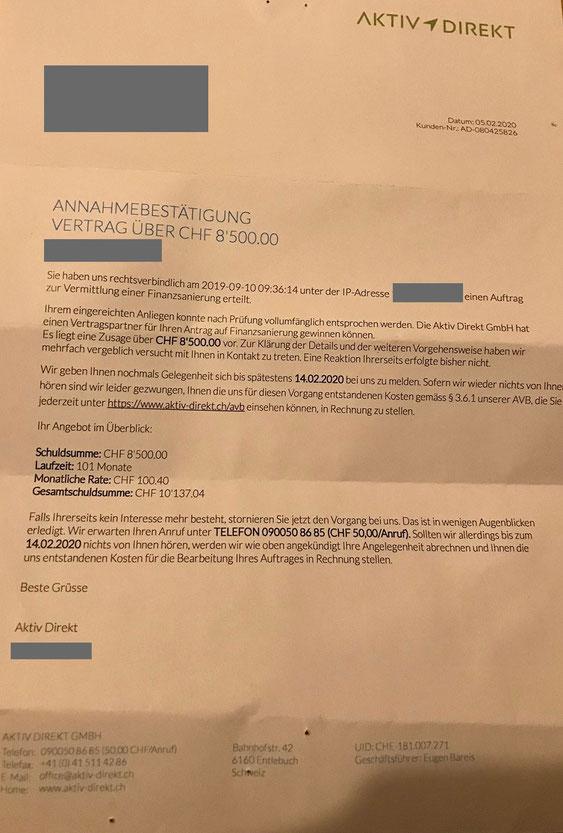 Abzocker Brief Aktiv Direkt GmbH