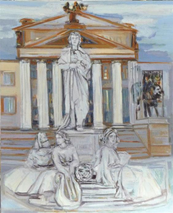 Schillerdenkmal auf dem Gendarmenmarkt 110 x 90 Öl Lw. 2018 Arbeitszustand