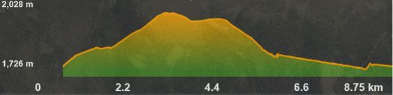 Perfil de la ruta de raquetes - La Casilla - Pla de la Bassa - Creu de Meians