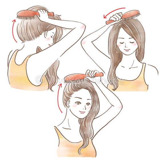 髪をとかしている女性のイラスト