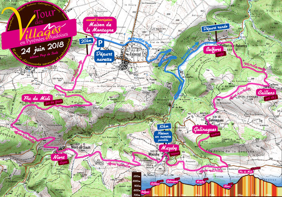 Plan du Tour des Villages en Pyrénées Audoises