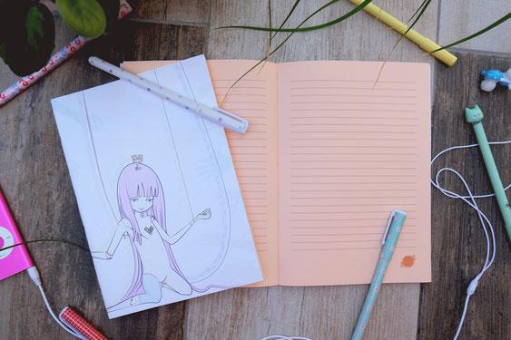Carnet de note ligné design poupée articulée kawaii univers japon manga
