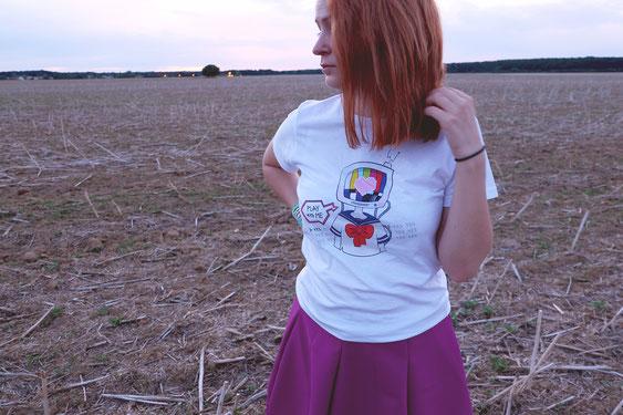 T shirt play with me fille télévision harajuku otaku style manga