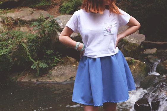 Tshirt don't drink avec jupe pétale bleu style manga harajuku japon