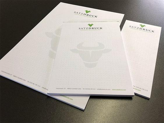 Notizblöcke und Schreibblöcke - gedruckt von der Druckerei SATZDRUCK aus Coesfeld (NRW)