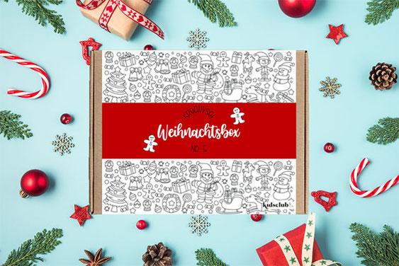 Die Kidsclub&Co. Weihnachtsbox mit tollen Ausmalpostern, Experimentierkarten und Bastelanleitungen