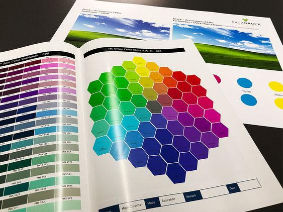 RGB-Farben im Digitaldruck auf der Test-Chart im Digitaldruck mit Monika Minolta High Chroma Toner