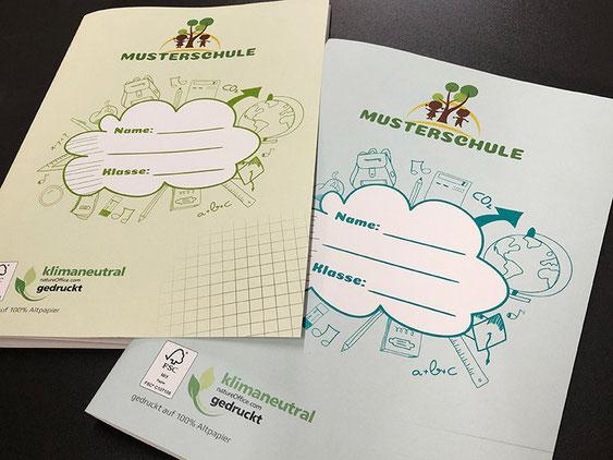 Ab sofort erhältlich – klimaneutral gedruckte Schulhefte aus 100% Altpapier in linierter und karierter Ausführung mit individuellem Umschlag Ihrer Schule.