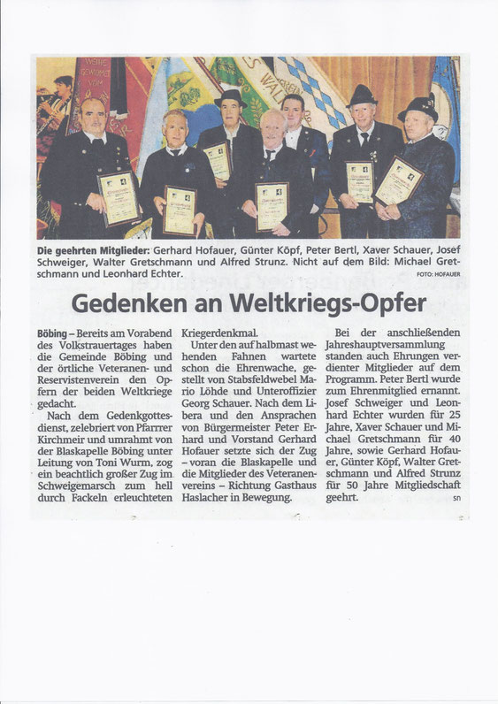 Jahreshauptversammlung am 17. November 2018 - Bericht der Schongauer Nachrichten