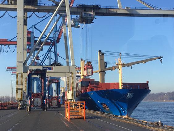 Das Beladen eines Containerschiffs am Burchard-Terminal