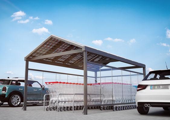 Einkaufswagen-Überdachnung mit Solar