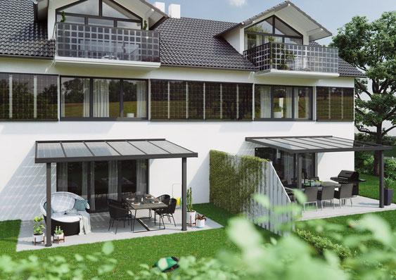 Solarfassade, Solarterrasse, Solarbalkon