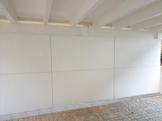 Carport Seitenwand aus HPL Platten