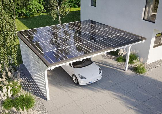 Solarcarport - Tesla Model 3