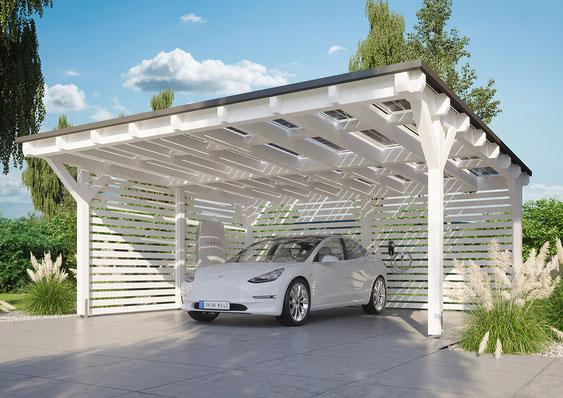 Solarcarport mit Tesla Powerwall Ladestation