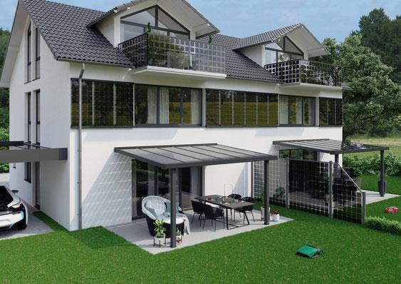 Niedrigenergiehaus mit BIPV Photovoltaikfassade