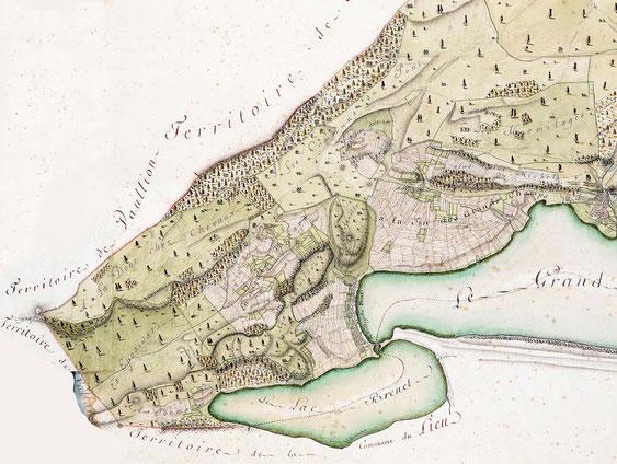 Territoire agricole du village du Pont, ACV, GC 1139/2, 1811-1814, carte de l'Abbaye signée Georges et Alexandre Wagnon