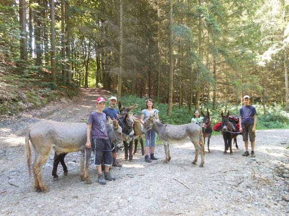 """Eselige Wanderferien auf dem """"Eselhaff"""": Familie Marson von """"Momo-Langohr"""" (klick aufs Bild!) war mit ihren 5 Eseln eine Woche bei uns auf dem Hof zu Gast :-)"""