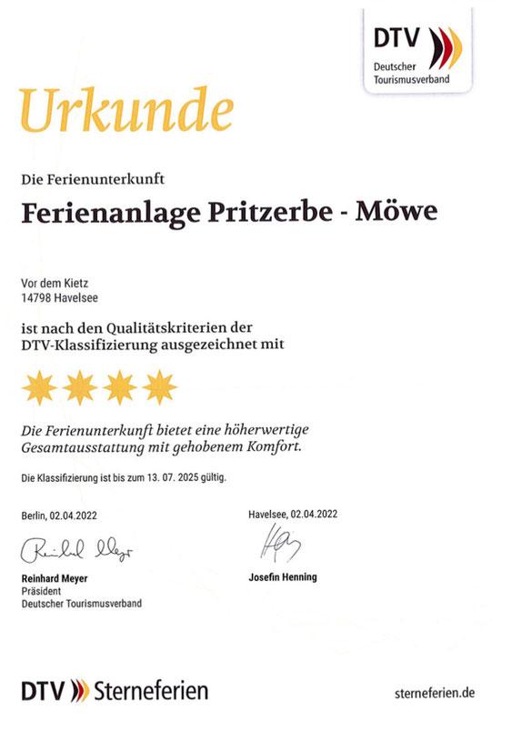 DTV Klassifizierung für die Ferienwohnung Möwe