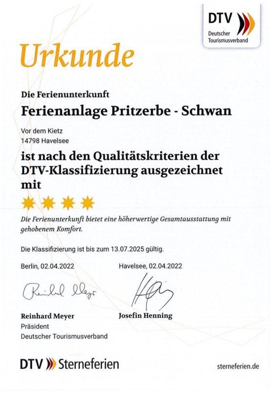 DTV Klassifizierung für die Ferienwohnung Schwan