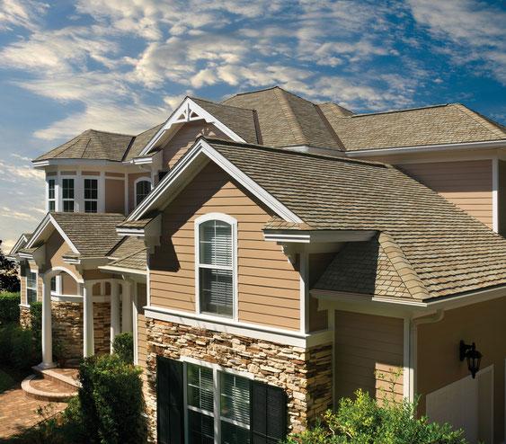 dach pokryty gontem ultra premium gaf model glenwood w kolorze Golden Prairie